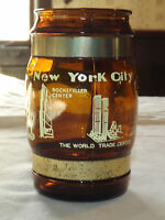 VINTAGE 1960-70S NEW YORK CITY WORLD TRADE CENTER WOOD HANDLE  GLASS  MUG