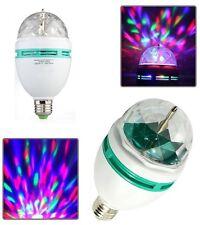LAMPADINA LED RGB MULTICOLORE SFERA GIREVOLE LUCE COLORI E27 3W FESTA PARTY DANC