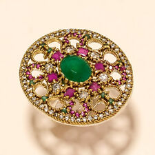 GREEN ONYX, PINK RUBELLITE & CZ TOPAZ .925 SILVER TURKISH ADDJUSTABLE RING