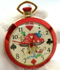 "ALICE in WONDERLAND,70's,RARE! ""Mushroom"" Wind-up,Character POCKET WATCH,28,L@@K"