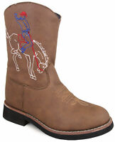 Smoky Mountain Kids Night Horse Western Cowboy Boots Leather Round Toe Brown
