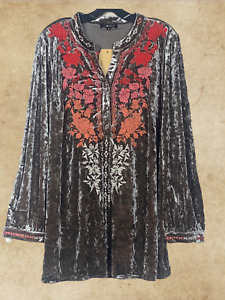 PLUS ANDREE BY UNIT EMBROIDERED LONG SLEEVE  GREY VELVET BOHO TUNIC TOP 1X 2X 3X