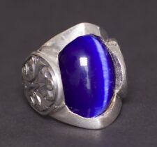 925 Sterling Silver  Mens Uniqe perfect Ring, Caats eye blue Natural gemstone