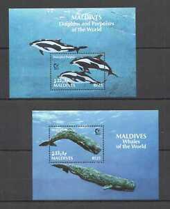 H0478 MALDIVES FISH MARINE LIFE FAUNA DOLPHINS & PORPOISES OF THE WORLD 2BL MNH