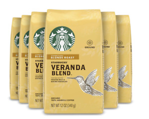 Fresh Starbucks Veranda  Blonde Roast grounf coffee 12 Oz