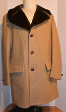 MEN'S VINTAGE 1970s SEARS WOOL CAR COAT! FAUX FUR COLLAR! EXTRA NICE SHAPE! 42