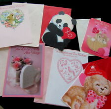 Vtg Valentine Card Hallmark Mouse Cat Panda Pink Rose Unused lot w/Envelopes