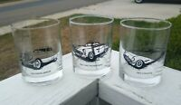 Vintage Automobile Tumbler Highball Rocks Cocktail Bar glasses. 3 Rare