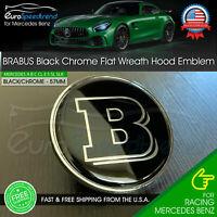 Mercedes Benz Genuine Vehicle Hood Star Emblem Badge 000-817-17-01, Chrome and Black Laurel Wreath