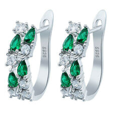 Women Fashion 925 Silver Pear Cut Emerald Stud Hoop Earring Wedding Jewelry New