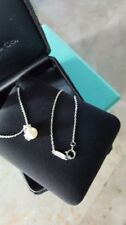 Tiffany & Co Sterling Silver Heart Cap Pearl Necklace Pendant Charm Chain