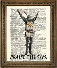 PRAISE THE SUN: Dark Souls Dictionary Print Wall Hanging, XBox, PS3 Knight Art