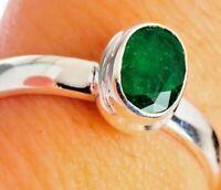 Natural Beautiful Zambian Emerald (7x5) 925 Sterling Silver Ring U.S. Size 7.5