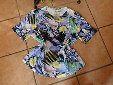 SEIDEL Moden Damen Shirt 40 42 NEU! Blüten Motiv Blautöne Stretch