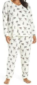 NWT PJ Salvage Ivory SKI BUNNY~DEER~PORCUPINE Sweater-Knit JOGGER Pajama Set 1X
