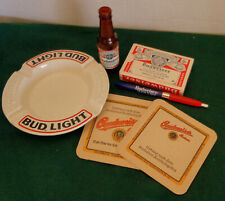 New listing (6) Budweiser Beer Advertising Items: Bud Light Ashtray, Coasters, Pen, Cards +