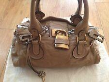 CHLOÉ Beige Brown Leather Paddington GOLD LOCK Shoulder Bag Purse