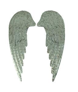 Zeckos Galvanized Metal Rustic Angel Wings Wall Decor Set