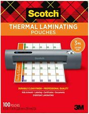 Scotch Thermal Laminating Pouches100 Pack 89 X 114 Inches Letter Size Sheet