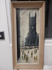 MANNER OF  LOWRY  -  intriguing   OIL ON BOARD  CIRCA 1950 - 60