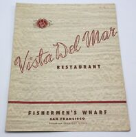 Vintage VISTA DEL MAR Restaurant Menu Fisherman's Wharf San Francisco 1950s