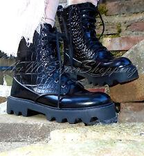 Zara NEGRO COCODRILO al Tobillo Zapatos De Ejército Botas Con Cordones Talla 4 UK 37 EU 6.5 nos
