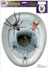 TOILET BOWL SEAT DECORATION Spiders cling bathroom lid decal sticker Halloween