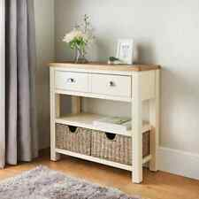 Newsham Superb Two Tone Solid Oak Console Table with Two Storage Baskets Drawers