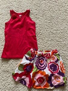 Crazy 8 by Gymboree red ruffle tank top tee floral flower skirt skort 7 8 EUC