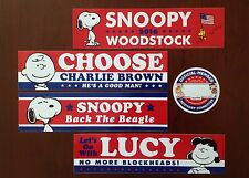 PEANUTS Political Stickers Snoopy Charlie Brown For President Trump Hillary