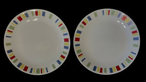 "Corelle Vitrelle Memphis 10 1/4"" Dinner Plate Red Yellow Blue Green Stripes TWO"