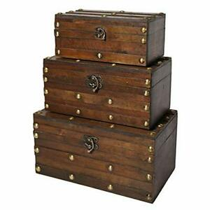 Wooden Trunk Chest - Set of 3 | Decorative Storage Boxes for Keepsake Monahan