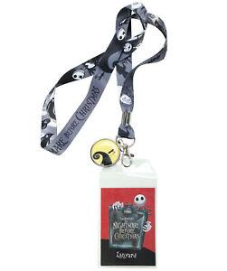 Disney The Nightmare Before Christmas Jack Sally Hill Lanyard ID Pin Holder NWT