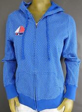 """Juniors Large Polka Dot Blue Hoodie Sweater Boat Patch Old Navy 22"""" x 19"""" D1"""