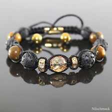Damen Lava Rock Kristall Edelstein Perlen Shamballa Armband Armreifen Tiger Eye