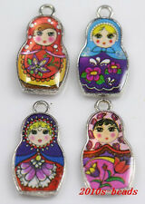 Wholesale 6pc beautiful Mixed color double-sided metal charms~27x14mm