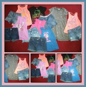 HUGE LOT~CLOTHES TOPS DENIM SHORTS JUSTICE VIGOSS OUTFITS GIRLS SIZE 14-16 XL