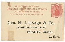 GB QV Business Reply Card,  George H Leonard, Importing Merchant, Boston, Unused