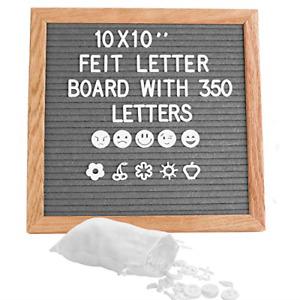 Grey Square Letter Board 10x10 Inch Felt Letter Board Including 350 White Easel