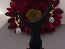 585 Gold Ohrhänger Brisuren Ohrringe Perlen Süßwasserperlen grau Damen Tropfen