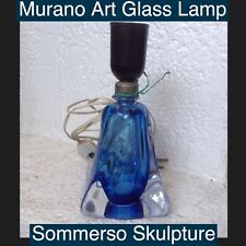 Murano Sommerso Art Glass Mid Century Lamp Base Deep Blues Handblown Twist Style