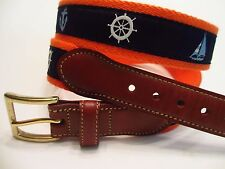 BROOKS BROTHERS NAUTICAL BELT MENS 36 RIBBON CANVAS LEATHER PREPPY EXCELLENT