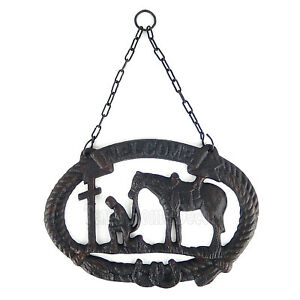 Praying Cowboy Welcome Sign Plaque Cast Iron Rustic Western Horseshoes Rope