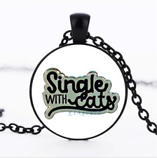 Single With Cats Black/Bronze/Tibet silver glass dome chain Pendant Necklace