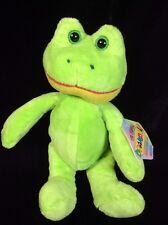 "Kellytoy Beanpals Green Frog Plush Soft Toy Beanbag Stuffed Animal 8"" Tags"