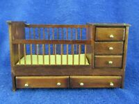 Dollhouse Miniature Brown Wood Baby Crib With Drawers 1:12 Scale Vintage