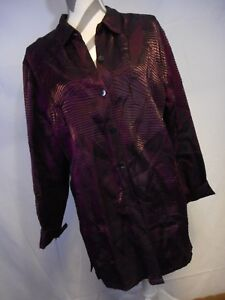 Chicos sz 2 Large Purple Button Up Collar Womens Textured Metallic Color Rayon &