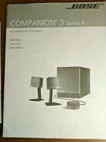 Bose Companion 3 Series II Multimedia Speaker Owners Guide Instruction Manual