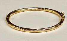 "14kt Yellow Gold Twisted Fluted Hinged Children's Bangle/Bracelet 5.5"" 3 grams"