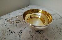 Vintage LUNT STERLING Pierced Handle Porringer Bowl Gold Washed #191